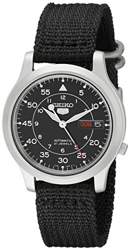 Reloj de acero SNK809 Seiko 5 automático inoxidable Seiko Hombres de Negro con correa de lona