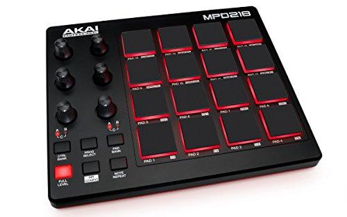 Akai Professional MPD218 | Controlador pad de batería MIDI con Descarga de software del paquete (16 pads / 6/6 perillas botones)