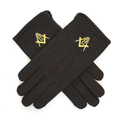 Guantes masónicos mano Cambio de bordado negro y oro Francmasónicas