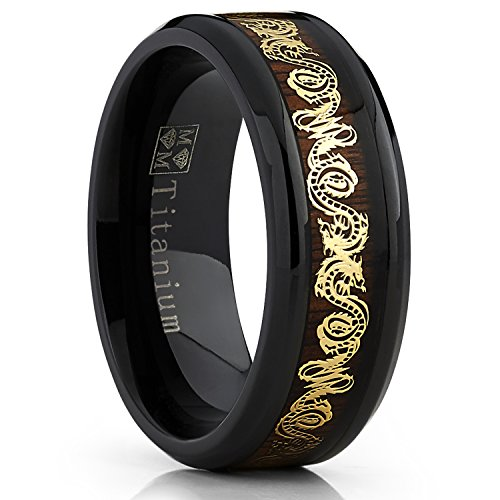 Negro banda anillo de titanio de la boda de los hombres con dorado del dragón del embutido sobre el Real Madera