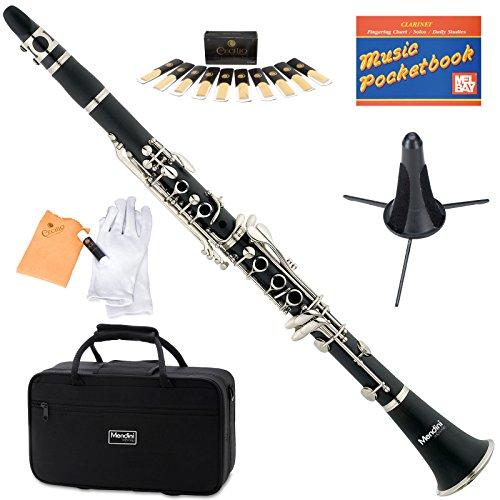 Mendini MCT-E + SD + PB Negro ebonita B clarinete plana con el caso, Stand, de bolsillo, Boquilla, 10 cañas y Más