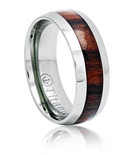 Anillo de titanio banda de boda, anillo de compromiso con el Real madera embutido, de 8 mm de ajuste cómodo Tamaños 7 a 13 (8,5)