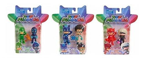 MÁSCARAS PJ PJMASKS articulan 3 pulgadas figura de acción Bundle Owlette, Luna de chicas, Catboy, Romeo, Gekko y noche Ninja