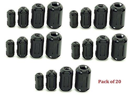 AUCH 20Pcs clip de anillo de ferrita Núcleo Negro RFI EMI supresor de ruido Clip de cable para cable Diámetro 5mm / 7mm / 9mm / 13mm