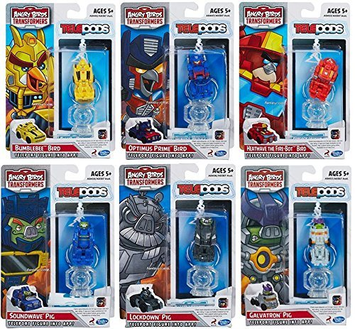 Angry Birds Transformers Telepods Paquete de 6 Optimus Prime Bumblebee Bird cerdo Lockdown ola de calor Galvatron Soundwave