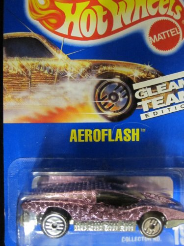 AEROFLASH 1992 Hot Wheels # 191 Brillo Pink Team Chrome con Hots Ultra ruedas sobre la tarjeta azul sólido