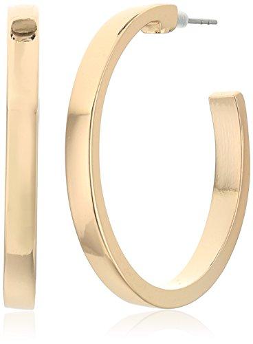 GUESS Pendientes de oro cuadrado pequeño borde del aro