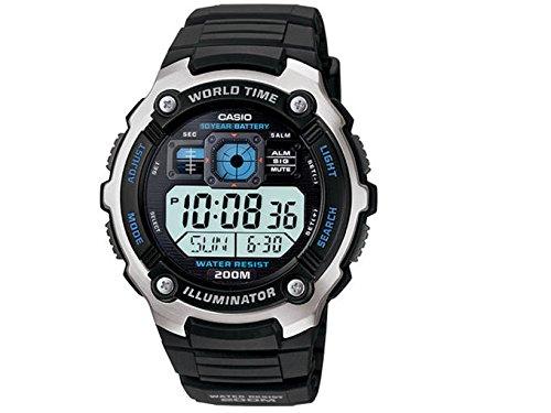 AE2000W-1AV del tono plateado de hombre Casio y Negro de múltiples funciones Reloj deportivo digital