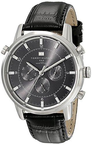 Tommy Hilfiger 1790875 Hombre deportivo de lujo del reloj del acero inoxidable con correa de cuero Negro