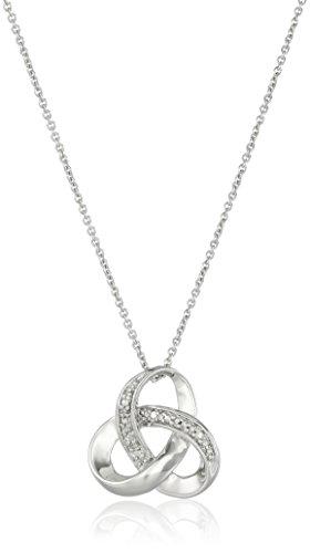 Collar pendiente de la plata esterlina detalles de diamantes nudo, 18