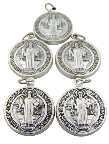 Lote de 5 Tono de plata virada Base de Saint Benedict Protección del mal sacremental Devoción 1 Medalla pulgadas