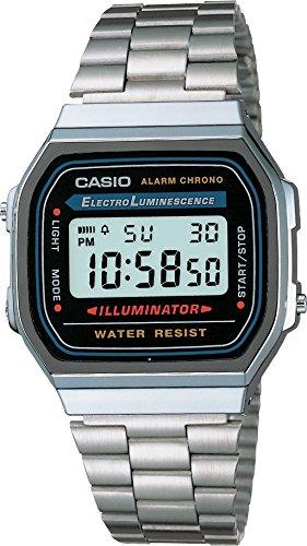 Hombre Casio A168W-1 reloj de acero inoxidable