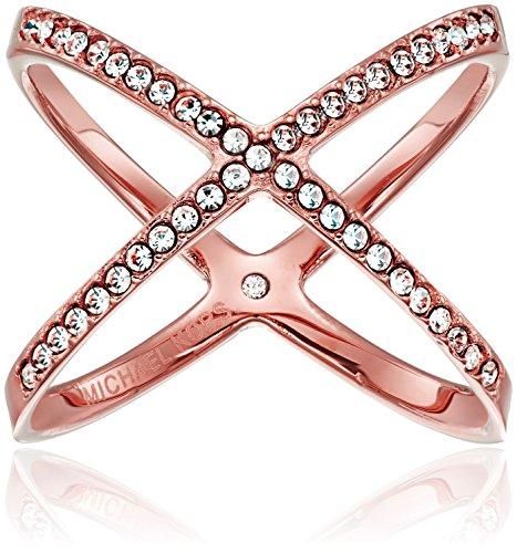 Michael Kors anillo de oro rosa Pave X, Tamaño 7