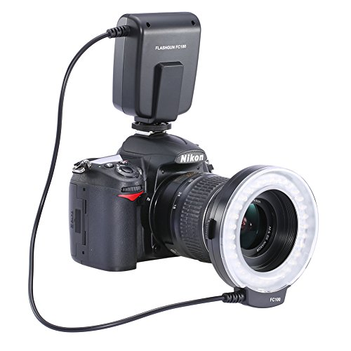 Neewer FC100 32 super brillante LED anillo de flash macro para Canon, Nikon, Olympus, Pentax Cámaras Reflex (Cabrá 52, 55, 58, 62, 67, 72, lentes de 77mm) Canon EOS Digital Rebel T1i (500D), T2i (550D) , XSI (450D), XTI (400D), XT (350D), 60D, 50D, 40D, 30D, 20D, 10D, 1D, 5D Mark 2, 5D Mark 3, Nikon D7000, D3200, D3100, D5100, D5000