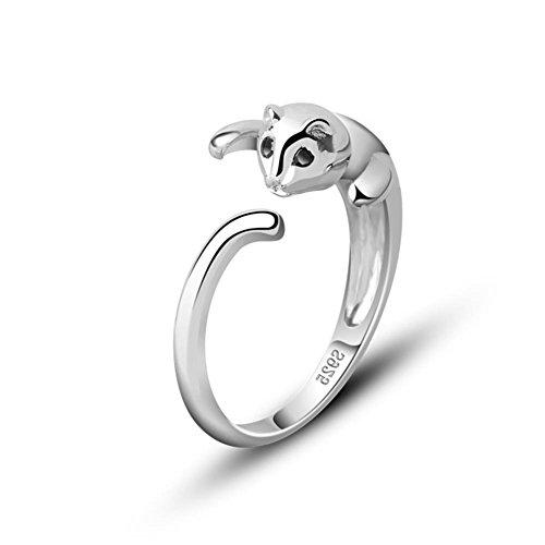 925 plata esterlina anillo encantador del gatito de la cola, de medida adaptable