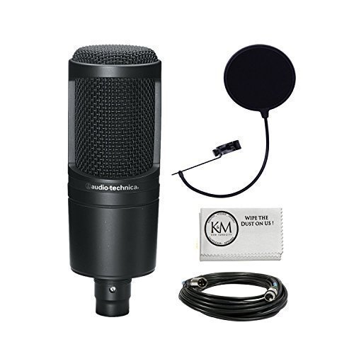Audio Technica AT2020 Micrófono condensador de estudio Bundle con el filtro Pop y cable XLR