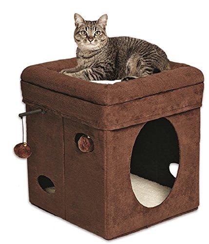MidWest viviendas para los animales domésticos del gato curioso del cubo, Gamuza marrón