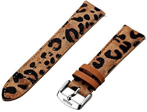 S201015 20mm cuero fósiles de las mujeres correa de reloj - impresión del guepardo