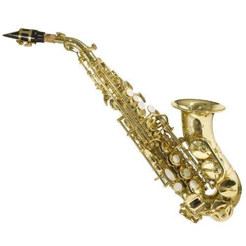 Saxofón Soprano Curvo Cecilio 2 La Serie SS-300L oro lacado con el caso y las cañas, Llave de Bb