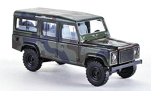 Land Rover Defender 110 Station Wagon, dunkeloliv, modelo de coche, confeccionado, Busch 1:87