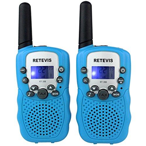 Retevis RT-388 22CH Pantalla LCD linterna VOX Niños bienvenidos walkie talkie (azul, 1 par)