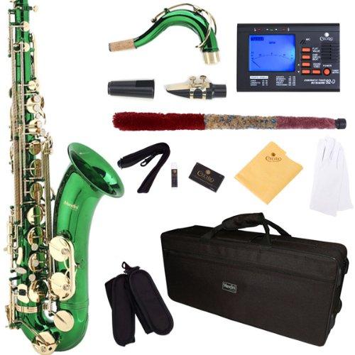 Mendini por Cecilio MTS-GL 92D + Laca Verde B Flat saxofón tenor con el sintonizador, el asunto, boquilla, 10 cañas y Más