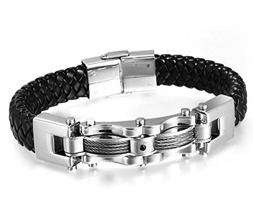 Punk acero inoxidable hombres del cuero genuino HITOP cable CZ brazalete pulsera brazalete (plata (Rhinestone Negro))