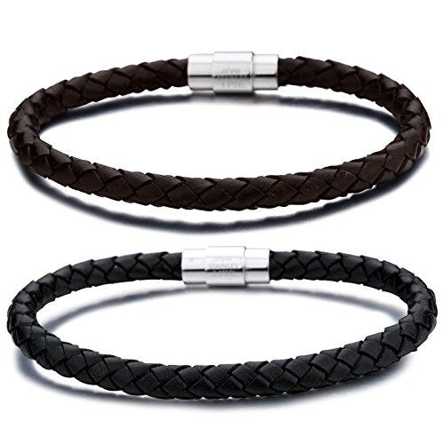 Jstyle acero inoxidable de 6 mm para hombre del brazalete trenzado de cuerda pulsera de cuero magnético del corchete-2 pares una pulgada Set 8