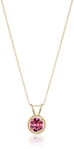 El oro llenado y el collar pendiente de octubre oro 10K de Swarovski piedras natales, 18