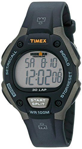 T5E901 hombres Timex Ironman Classic Negro 30 Ampliar / gris Resina reloj de la correa