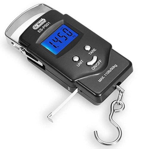 [Pantalla LCD retroiluminada] Dr.meter ES-PS01 escala de gancho 110 libras / 50 kg Balanza electrónica digital colgante Postal de pesca con cinta métrica, 2 pilas AAA Incluyó