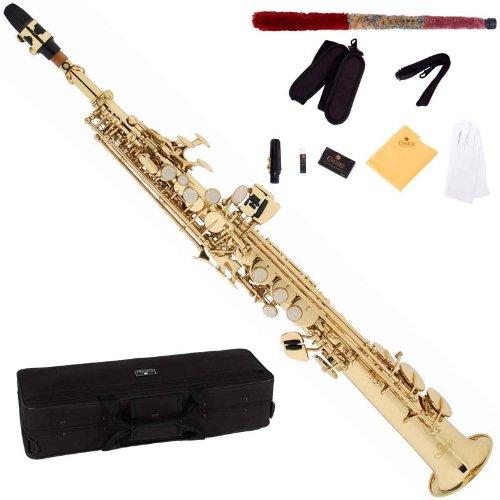 Cecilio 2 La Serie SS-280 de oro laca rectas Saxofón Soprano + boquilla, caso, cañas y accesorios